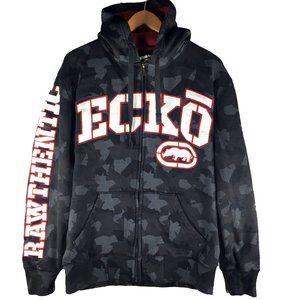 Ecko Black Urban Camo Hoodie Medium M Red White